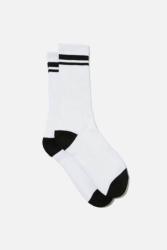 Retro Ribbed Socks, WHITE BLACK STRIPE