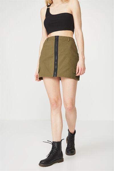 Camo Zip Front Skirt, KHAKI