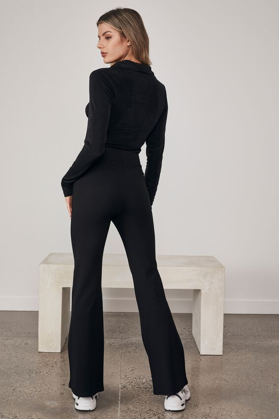 Long Sleeve Gathered Front Collared Top, BLACK