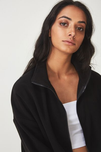 Crop Zip Thru Polar Fleece Jacket, BLACK