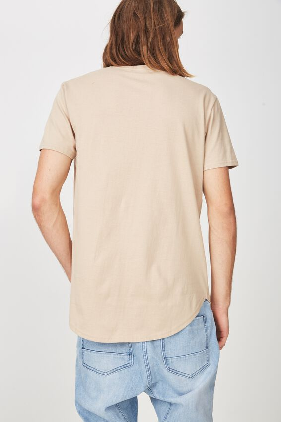 Curved T Shirt, ALMOND