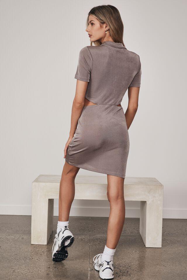 Cut Out Side Collar Dress, MUSHROOM