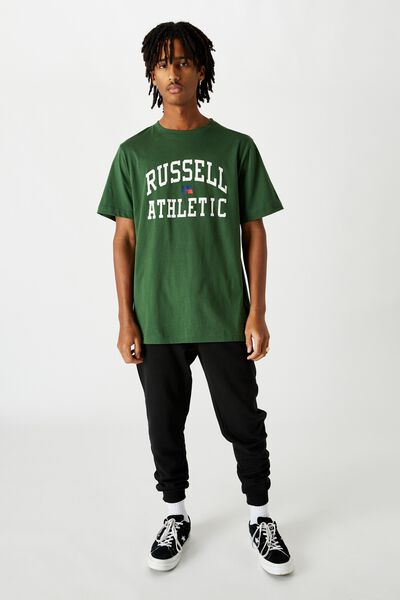Russell Athletic Crew T Shirt, GREEN/ARCH LOGO