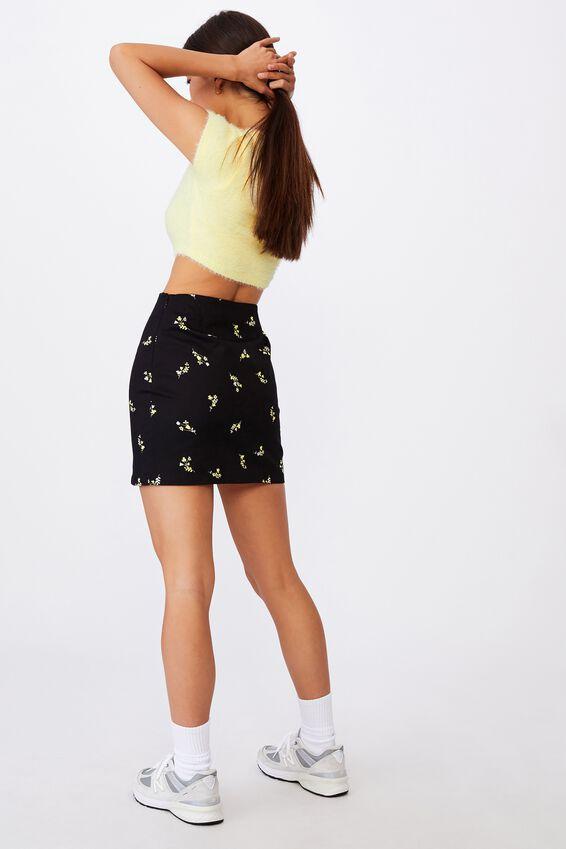 Double Split Mini Skirt, THEA FLORAL BLACK