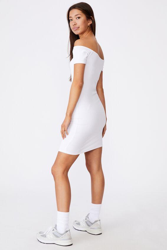 Rib Off Shoulder Dress, WHITE