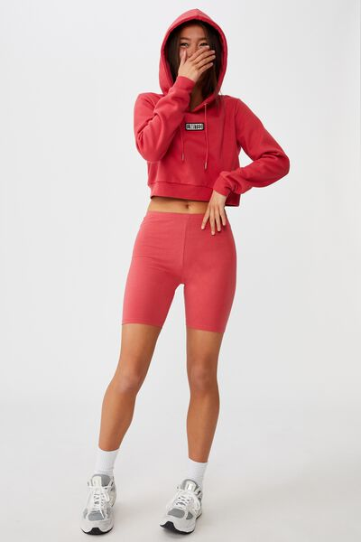 Classic Crop Graphic Hoodie, RED APPLE/LIMITED