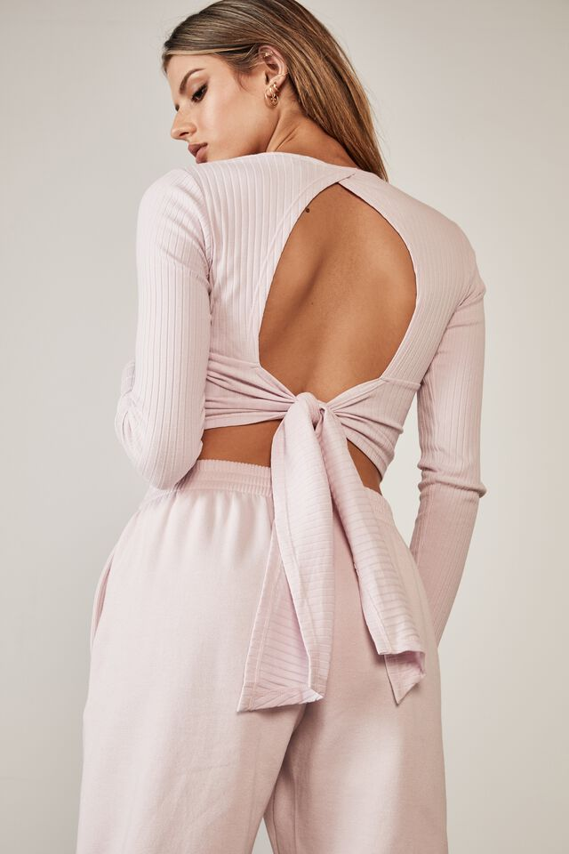 Long Sleeve Back Detail Top, LILAC SNOW