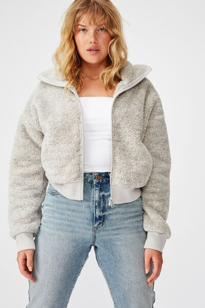 Plush Zip Thru Bomber, SPECKLED GREY