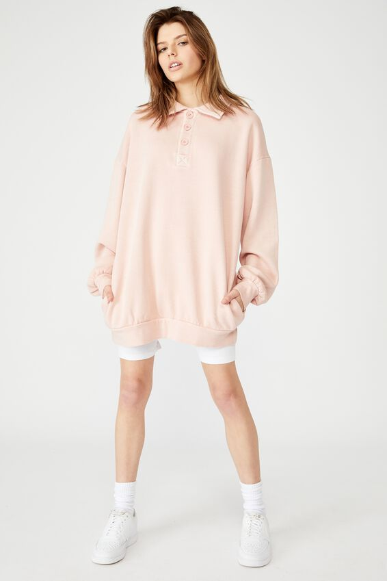 Oversized Collared Crew, WASHED CORAL