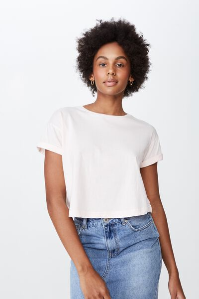 Curved Hem Short Sleeve Tee, BARELY PINK