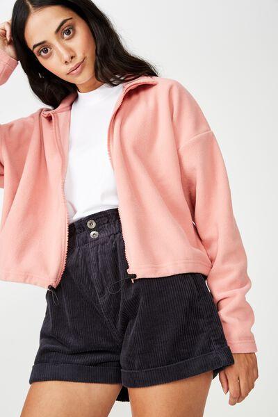 Crop Zip Thru Polar Fleece Jacket, DUSTY ROSE