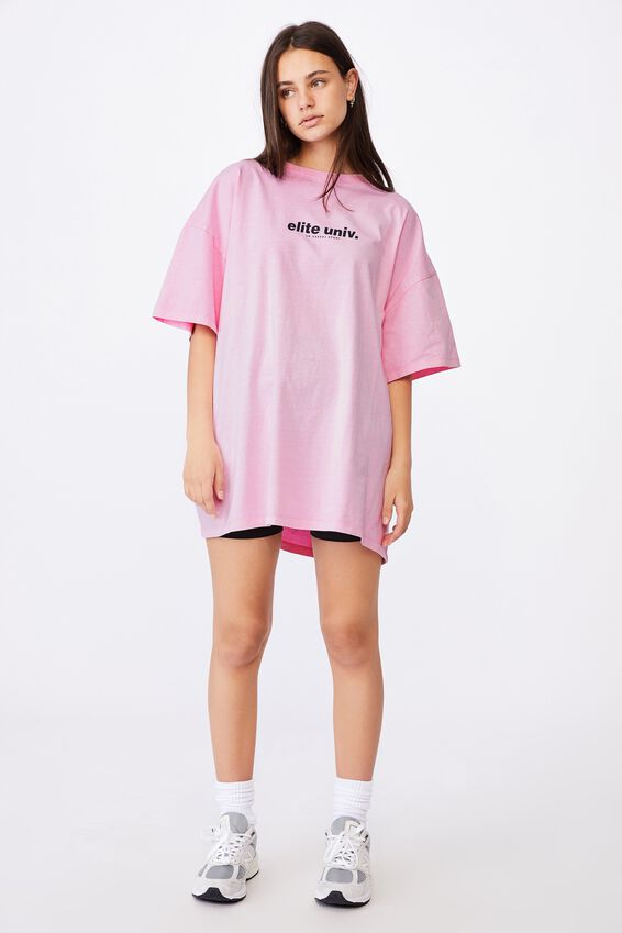 Graphic T Shirt Dress, BABE PINK/ELITE UNIV