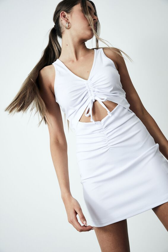 Ruched Cut Out Front Dress, WHITE