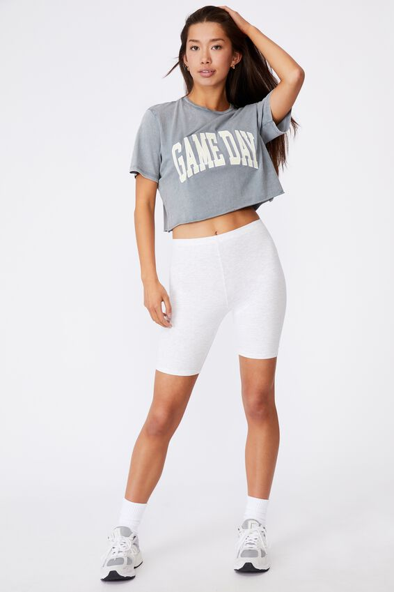 Short Sleeve Raw Edge Crop Graphic T Shirt, WASHED GREY/GAME DAY