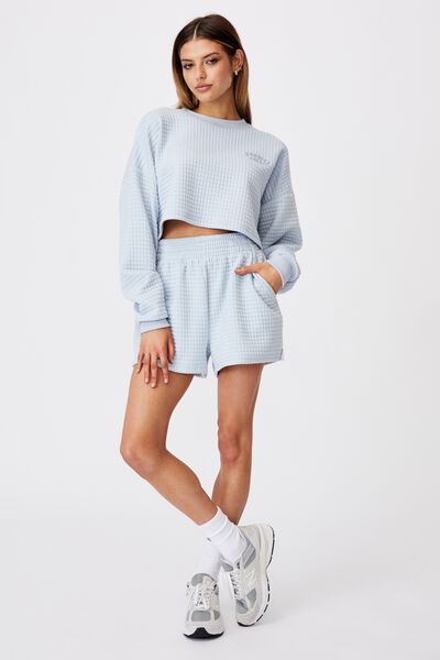 Waffle Cropped Crew, SKYWAY BLUE