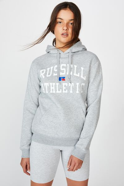 Russell Athletic Arch Eagle R Logo Hoodie, ASHEN MARLE