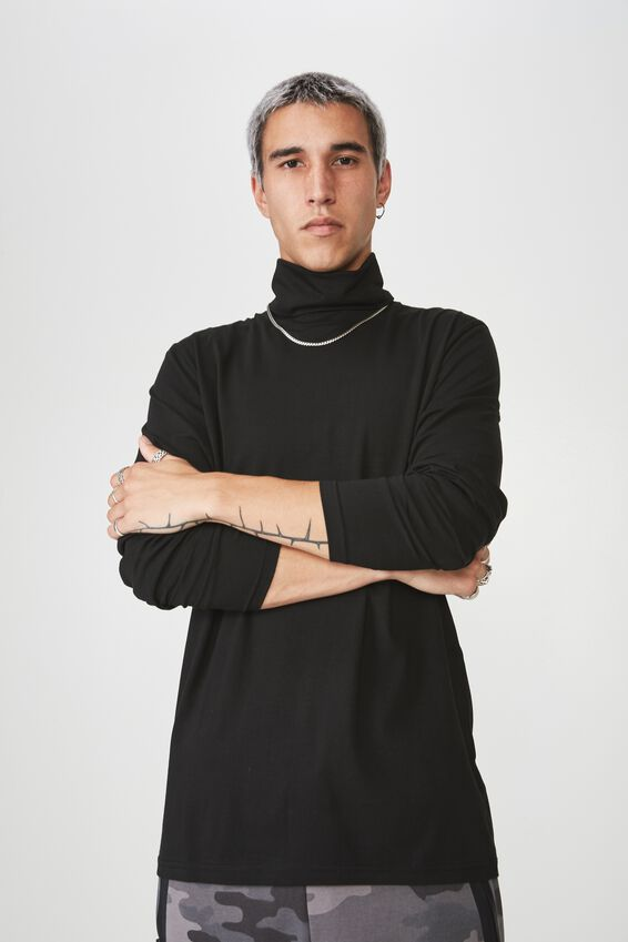 Long Sleeve Turtleneck Top, BLACK