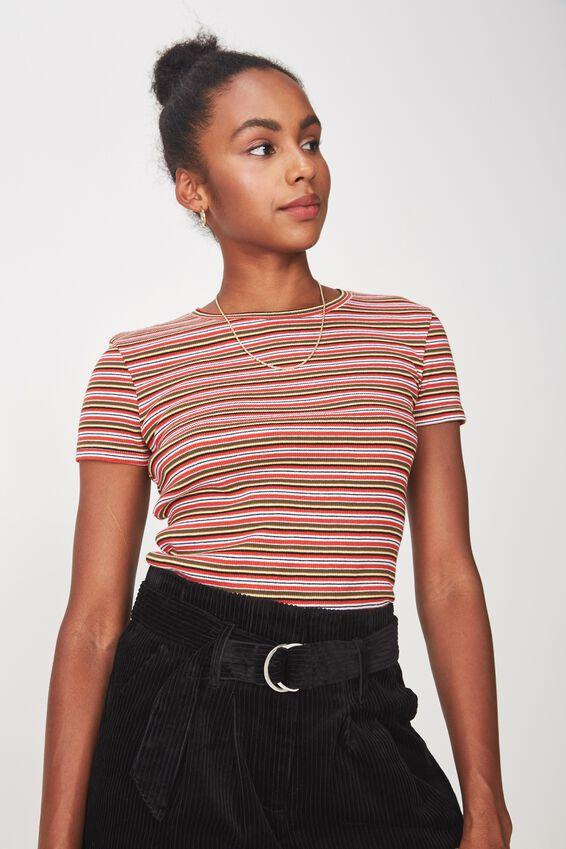 Short Sleeve Rib T Shirt Stripe, PHOENIX STRIPE