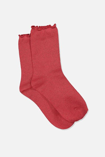 Embroidered Ruffle Edge Sock, SCARLET LUREX