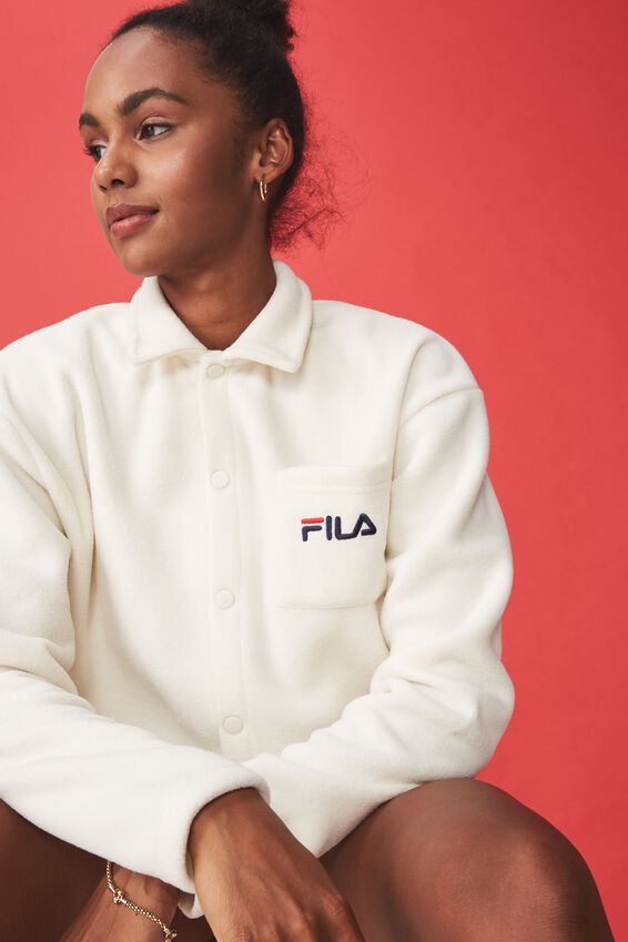 Fila Lcn Cropped Polar Fleece Jacket, OFF WHITE