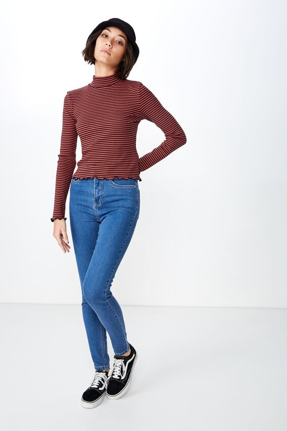 Stripe Rib Lettuce Edge Long Sleeve, AMARA STRIPE_EVENING BLUE