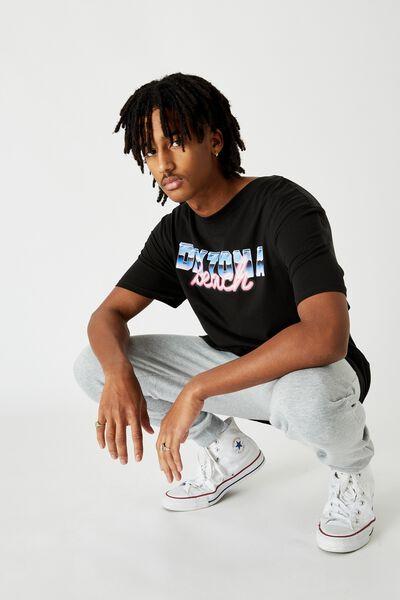 Regular Graphic T Shirt, BLACK DAYTONA BEACH