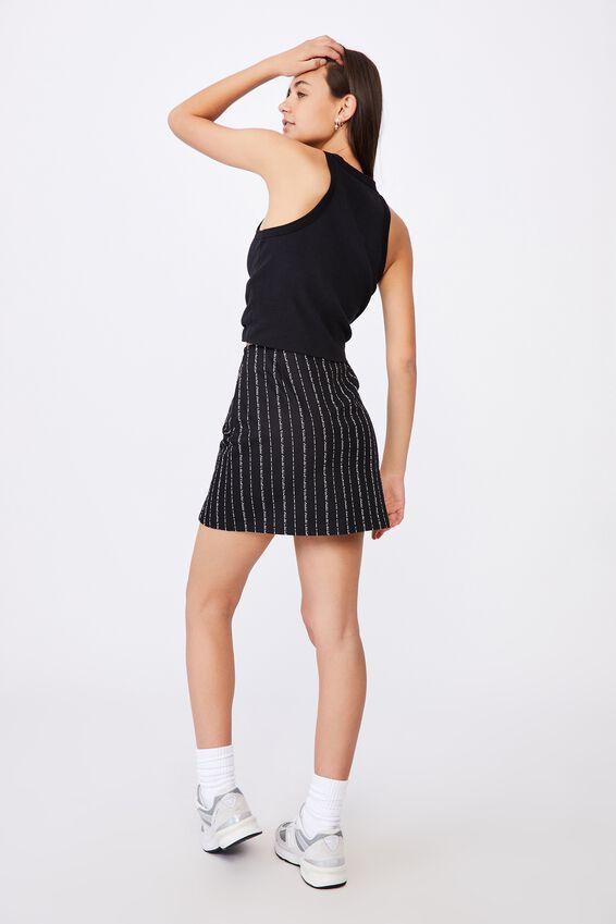 Double Split Mini Skirt, SPLIT STRIPE BLACK