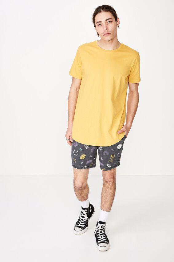 Curved T Shirt, CHEDDAR