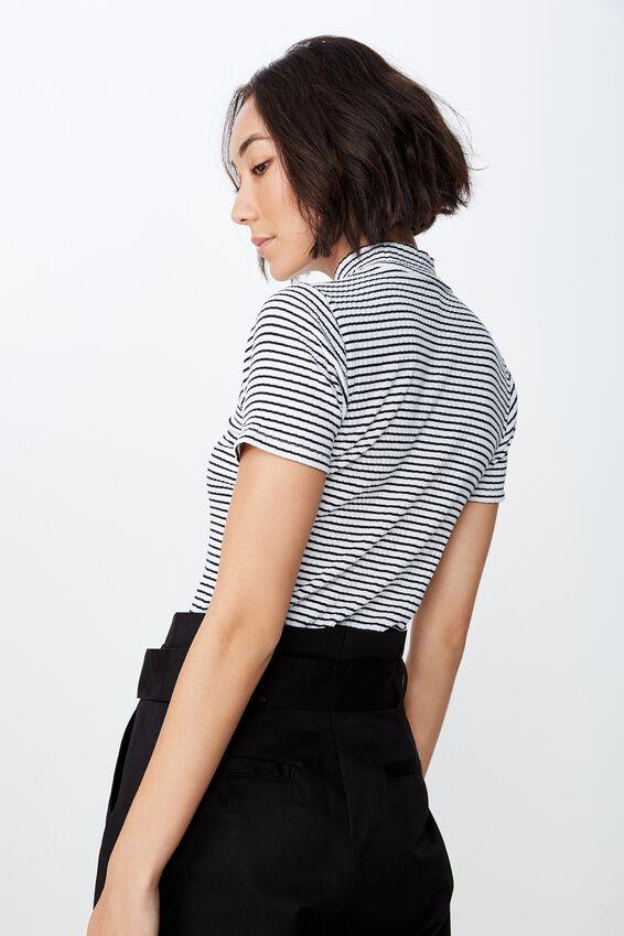 Stripe Short Sleeve Rib Funnel Neck T Shirt, FRANKIE STRIPE_WHITE