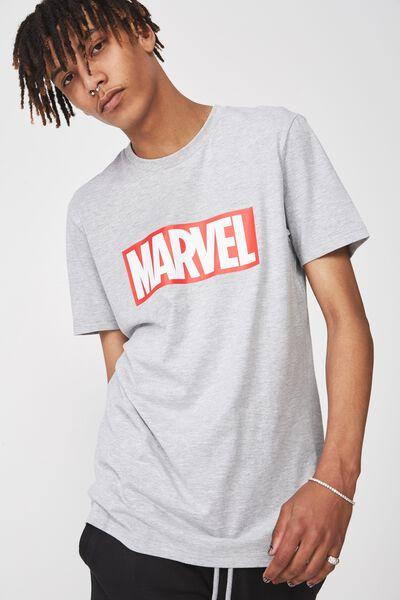 Licensed Print T Shirt, LIGHT GREY MARLE/MARVEL