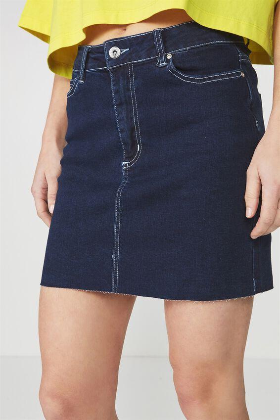 Malibu Stretch Skirt, INDIGO_WHITE STITCH