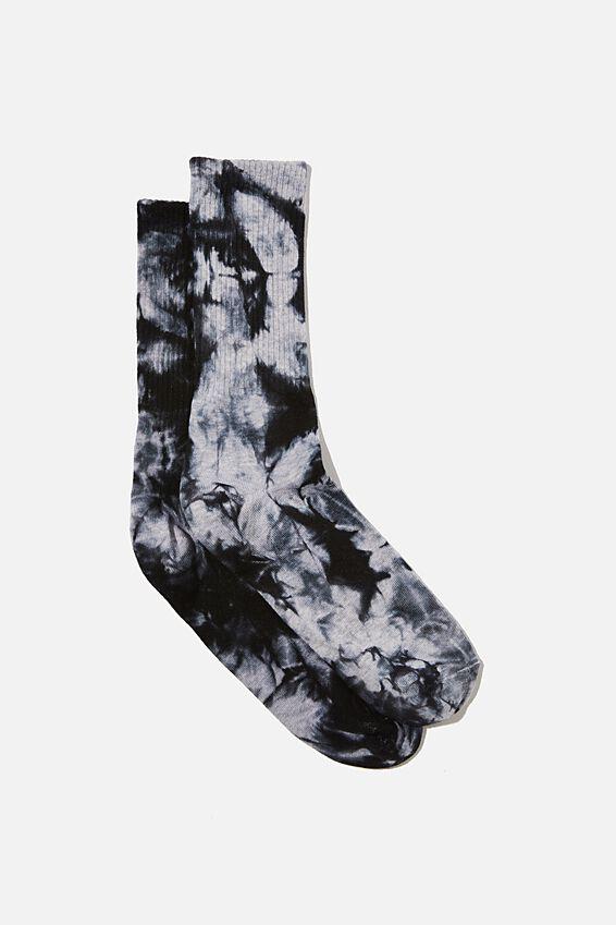 Retro Ribbed Socks, GREY BLACK TIE DYE