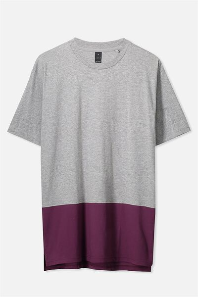Split Tee, GREY MARLE/GRAPE VINE