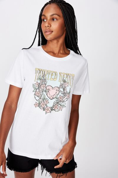 Relaxed Graphic T Shirt, TAINTED HEART/WHITE